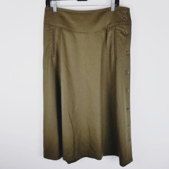 Talbots Dresses & Skirts - Talbots green wool midi skirt side buttons size 8